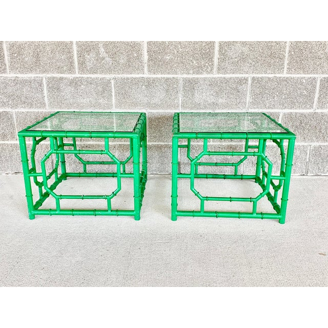Vintage Hollywood Regency Style Faux Bamboo Side Table-A Pair For Sale - Image 11 of 11