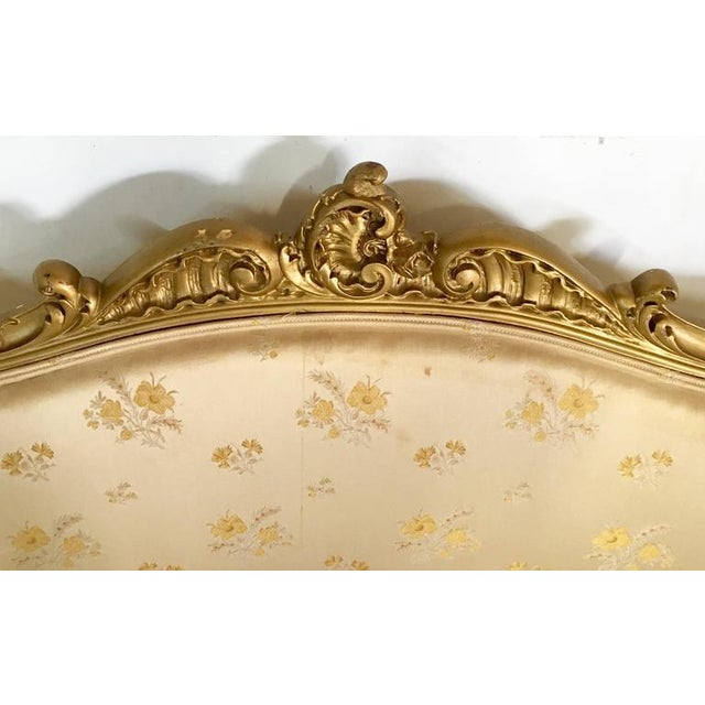 Antique French Louis XV Style Carved Gold Gilt Rolling Parlor Set - 3 Pieces - Image 7 of 10