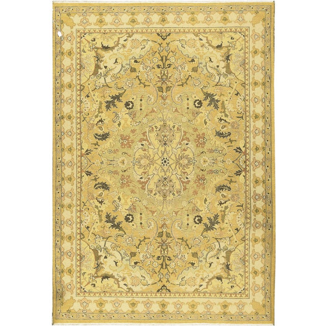 Traditional Hand Woven Gold and Beige Wool Rug - 6'2 X 9'10 For Sale