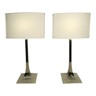 Laurel Chrome and Lucite Table Lamps - a Pair