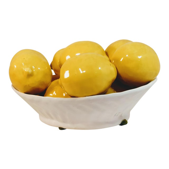 Vintage Italy Italian Majolica Fruit Lemon Bowl Porcelain Bowl For Sale