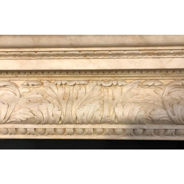 Stone Swedish Painted and Distressed Decorated Fire Surround in Faux Marble Finish For Sale - Image 7 of 13