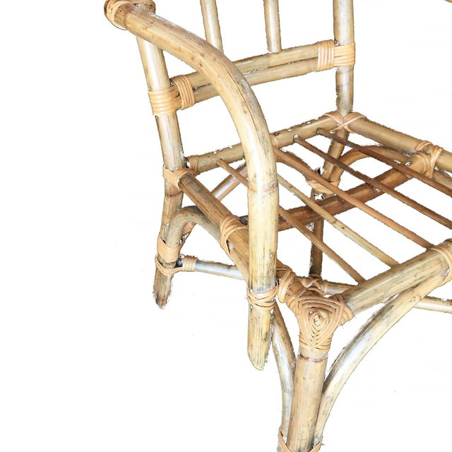 Paul Frankl Mid-Century Swoop Arm Rattan Armchair With Triple-Pole Back For Sale - Image 4 of 6