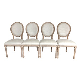 Modern Restoration Hardware French Round Fabric Side Chair- Set of 4 For Sale