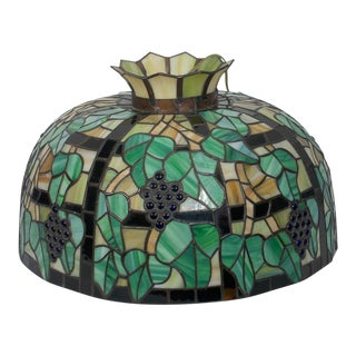 Tiffany Style Stained Glass Electrified Swag Lamp For Sale