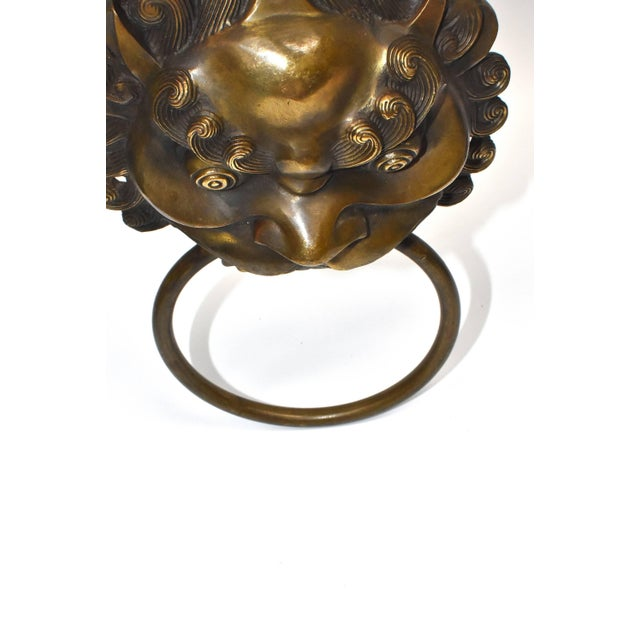 Metal Pair Vintage Lion Brass Knockers Medium Size For Sale - Image 7 of 13