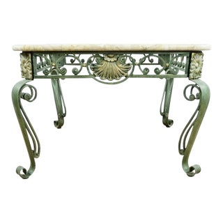 Shabby Chic Marble Wrought Iron and Glass Top Coffee Table