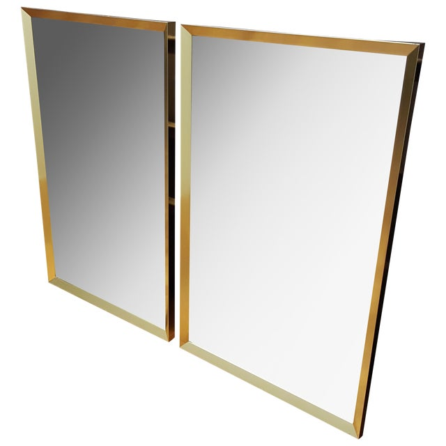 Large Brass-Framed Mirrors - A Pair - Image 1 of 6