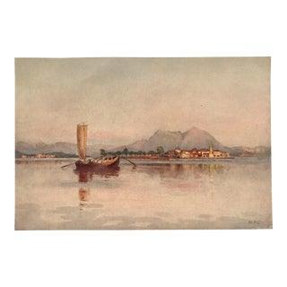 1905 Original Italian Print - Italian Travel Colour Plate - Isola Pescatori, Lago Maggiore For Sale