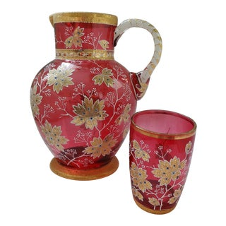 Moser Cranberry Coralene Pitcher and Glass For Sale