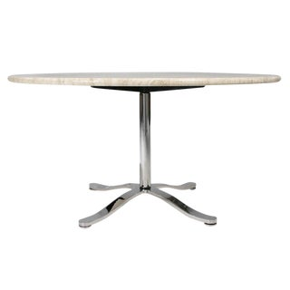 Nicos Zographos Travertine & Chromium Steel Pedestal Table For Sale