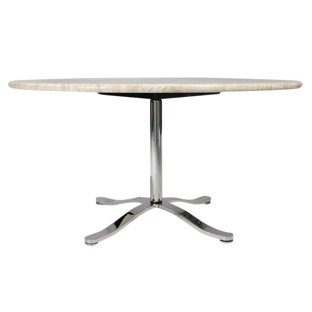 Nicos Zographos Travertine & Chromium Steel Pedestal Table For Sale
