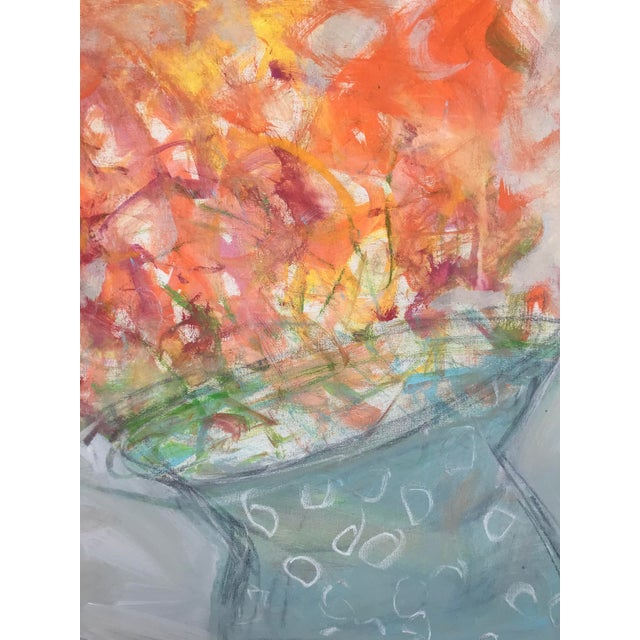 A bright and cheery abstracted composition of orange blooms in a polka dot vase. 24 x 24 x. 75, Edges painted white, back...