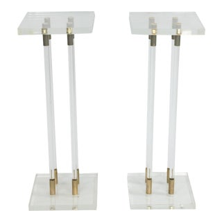 2 Lucite Pedestals with Gilt Metal Detail For Sale