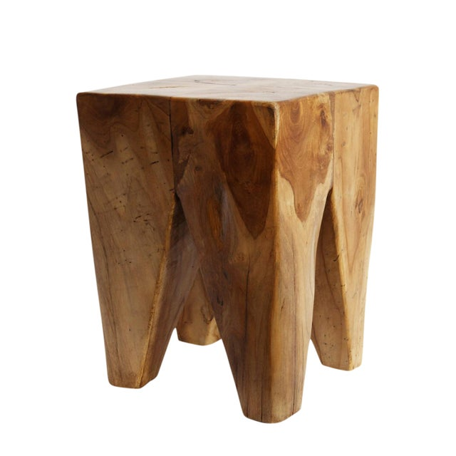 Waxed Teak Root Stool For Sale