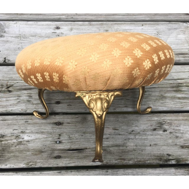 Antique Gold Cushioned Footstool - Image 3 of 7