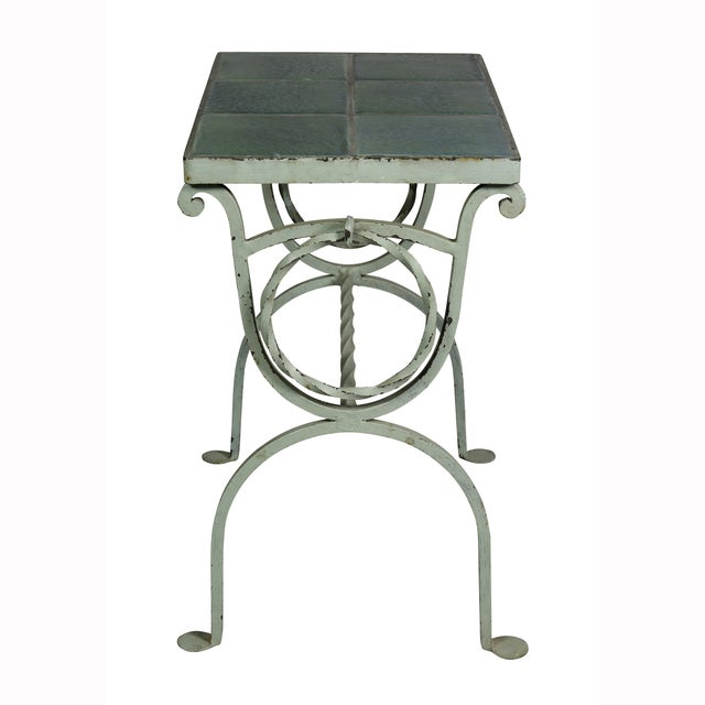 Arts & Crafts Wrought Iron and Tile Top Side Table For Sale In Boston - Image 6 of 9