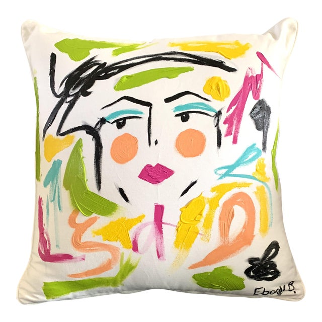 Abstract Face Painting Lela Pillow For Sale