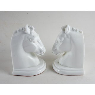 Art Deco Milk Glass Horse Bookends - a Pair Preview