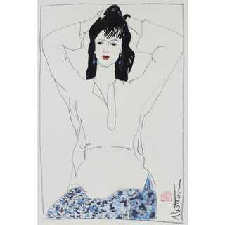 Rip Matteson Female Figure in Blue Blue With Red Lipstick, Charcoal & Gouache Painting, 1999 May 14, 1999 For Sale