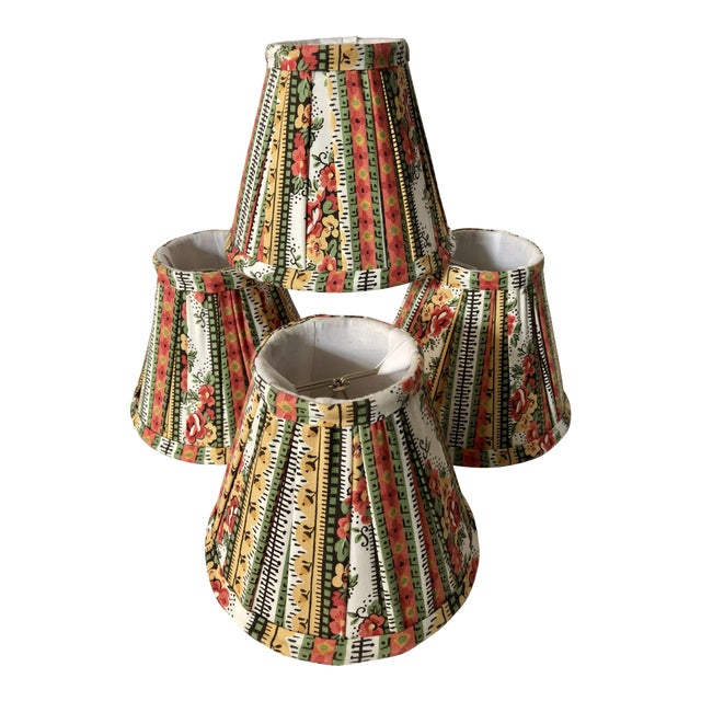 Custom Striped Floral Chandelier Shades - Set of 4 - Image 1 of 5