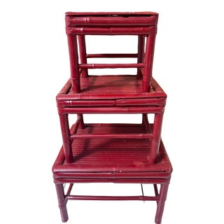 Set/3 Red Rattan Plant Stands/Table Risers For Sale