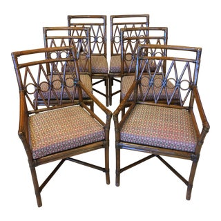 1960s Vintage Bamboo Rattan Chairs- Set of 6 For Sale