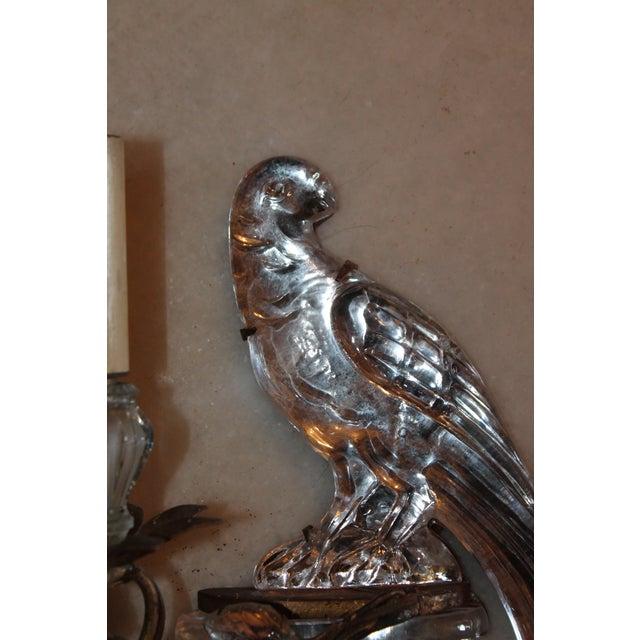Maison Baguès 1920s Maison Bagues Signed French Art Deco Crystal & Bronze Parrot Sconce For Sale - Image 4 of 12