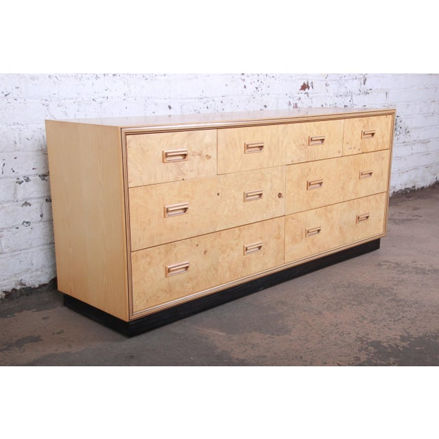 Henredon Milo Baughman Style Burl Wood Dresser or Credenza by Henredon For Sale - Image 4 of 13