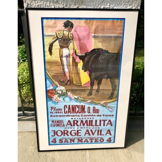 Authentic Silkscreened Mexican Bullfighting Poster Preview