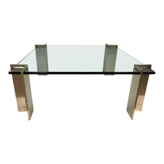 Polished Bronze and Glass Coffee Table For Sale