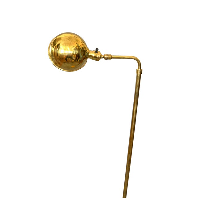 1970s Mid-Century Modern Adjustable American Vintage Brass Floor or Reading Lamp For Sale - Image 5 of 12