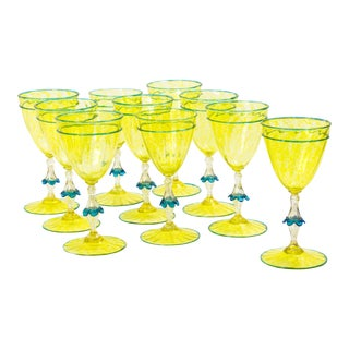 1950s Vintage Venetian Glasses Set- 10 Pieces For Sale