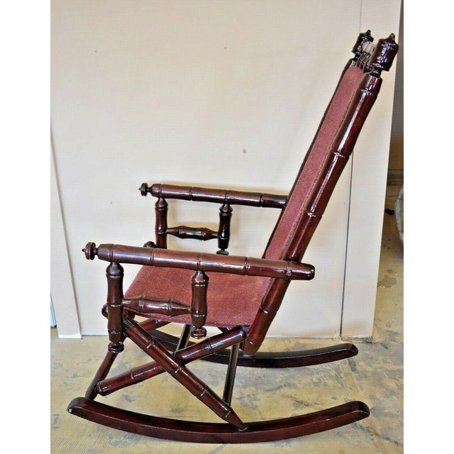 Vintage Faux Bamboo Rocking Chair With Mahogany Finish and Maroon Upholstery For Sale - Image 10 of 10