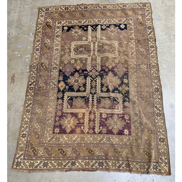 Textile Antique Caucasian Wool Rug - 3′8″ × 5′1″ For Sale - Image 7 of 7