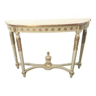 Italain Cream & Gilt Carved Console Table For Sale