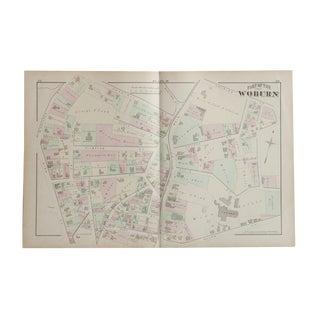 Antique Woburn Massachusetts Atlas Map Plate D