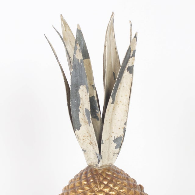 Mid-Century Modern Vintage Italian Tole Pineapple Garnitures - A Pair For Sale - Image 3 of 7