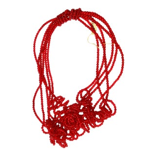 Venetian Red Glass Beads on Wired Coils