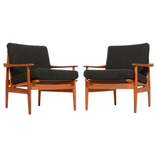 Pair of Danish Modern Greta Jalk Style Teak Lounge Chairs For Sale