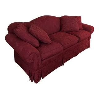Red Damask Contemporary Sofa