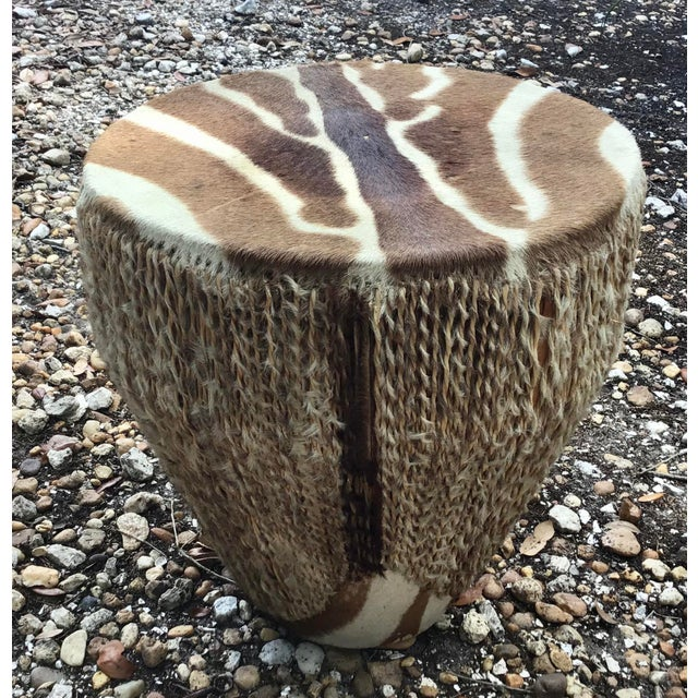 Brown African Zebra Hide Tribal Drum Table For Sale - Image 8 of 8