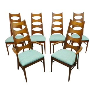 "Mid Century Modern Kent Coffey Perspecta Stunning Highback ""Cat Eye"" Dining Chairs Reupholstered in Aqua Tweed - Set of 6 For Sale"