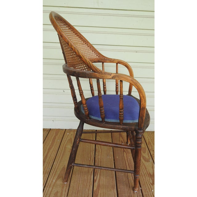 American Antique Oak Cane Back Chair For Sale - Image 3 of 10