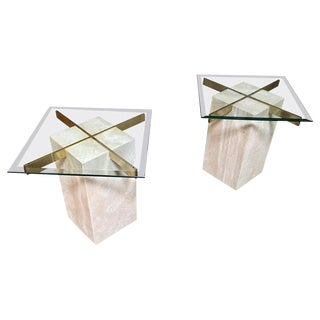 Artedi Travertine Tables - a Pair For Sale