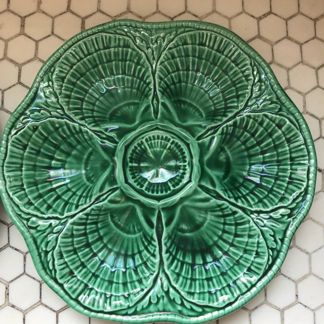 French Green French Glazed Oyster Plates-Pair For Sale - Image 3 of 11