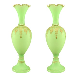 French Victorian Green Opaline Glass Vases - a Pair For Sale