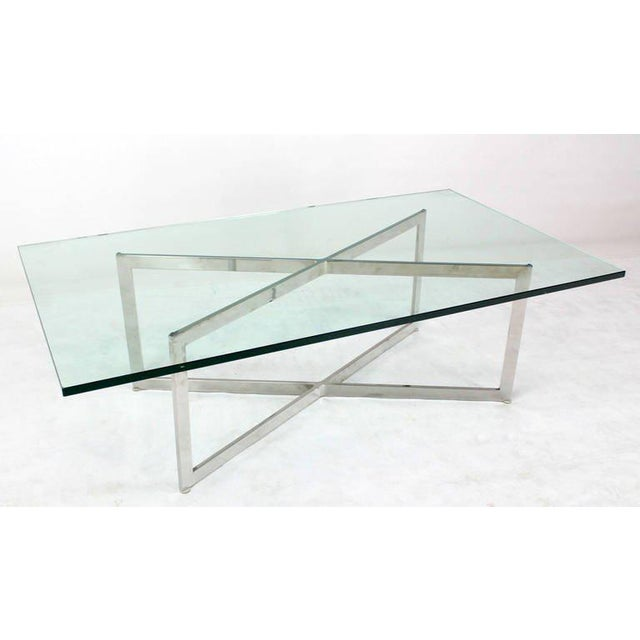 Mid-Century Modern Mid-Century Modern Stainless Chrome X-Base Coffee Table with Glass Top For Sale - Image 3 of 5