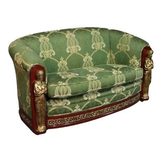 French Empire Style Mahogany and Brass Figural Settee Sofa Couch For Sale