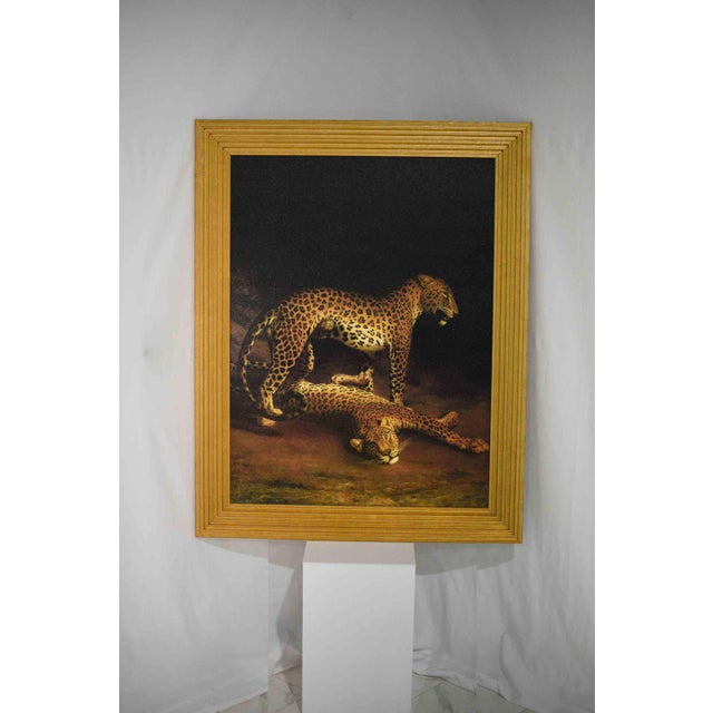 """An outstanding quality hand painted large scale reproduction of """"Two Leopards Lying in the Exeter"""" on artist-level linen..."""